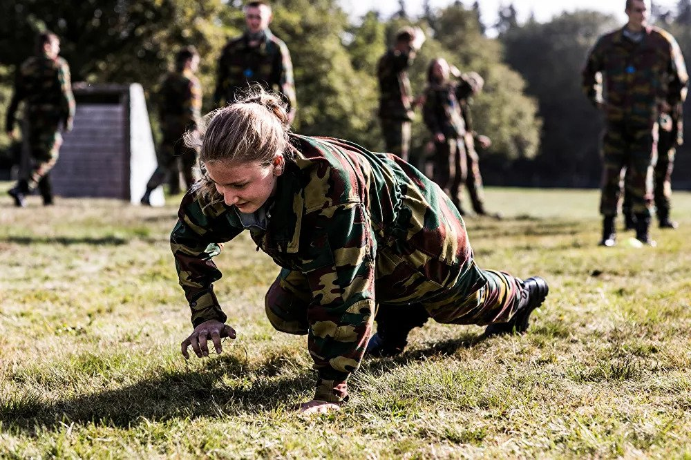 Belgian Crown Princess Elisabeth takes part in a military initiation training at Elsenborn Belgian army camp in Butgenbach, Belgium