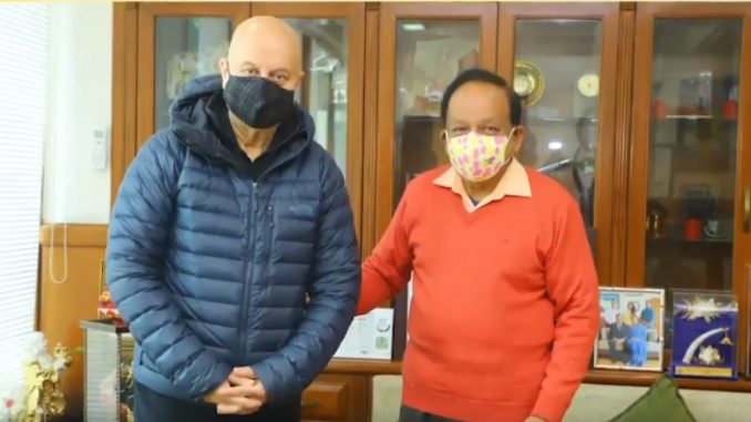 Anupam Kher spends Monday morning with Union Health Minister Harsh Vardhan