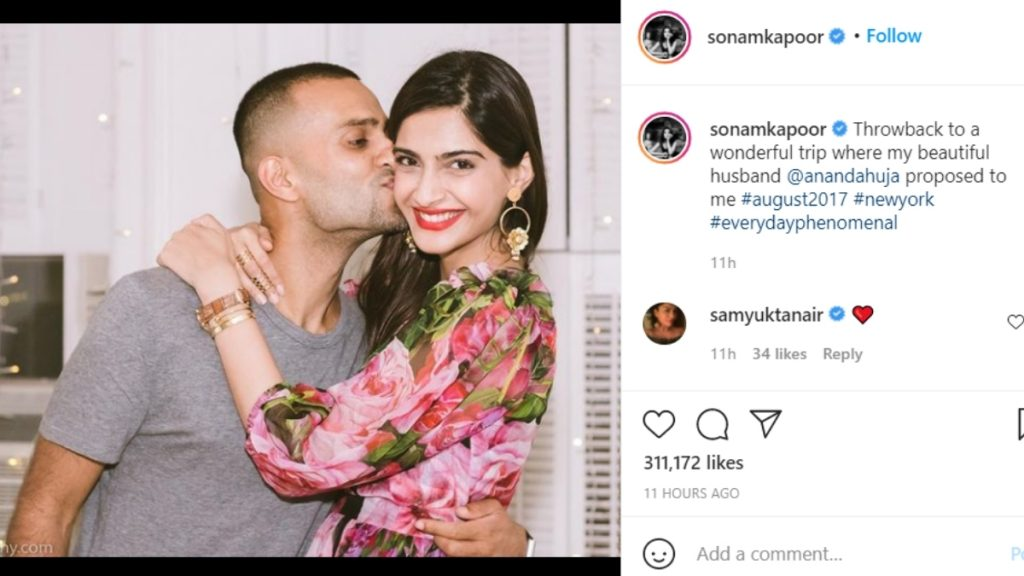 Sonam Kapoor Reminisces The Trip Anand Ahuja Proposal In New York